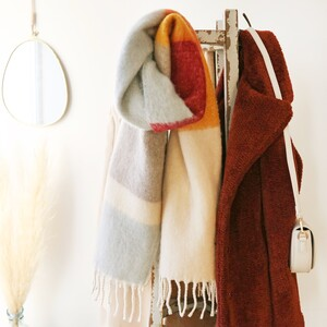 Burgundy and Grey Colour Block Winter Scarf