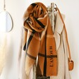 Lisa Angel Personalised Embroidered Check Blanket Scarf in Light Brown