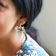 Model Wears Laurel Leaf Face Drop Earrings in Silver