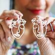 Ladies' Laurel Leaf Face Drop Earrings in Silver