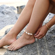 Natural Shell and Rope Anklet on Model