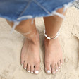 Ladies' Natural Shell and Rope Anklet on Model