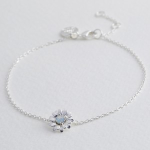 Crystal Daisy Charm Bracelet in Silver