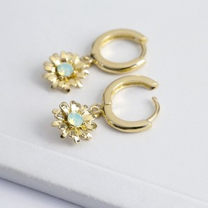 Crystal Daisy Huggie Hoop Earrings in Gold