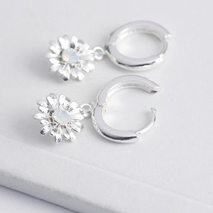 Crystal Daisy Huggie Hoop Earrings in Silver