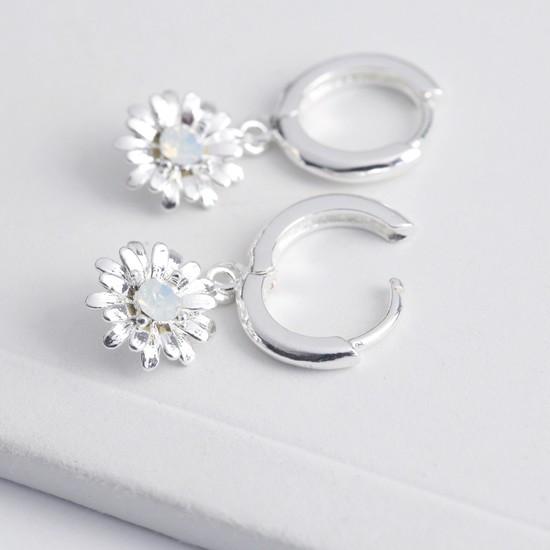 Crystal Daisy Huggie Hoop Earrings in Silver