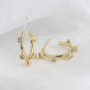Small Crystal Orb Hoop Earrings in Gold