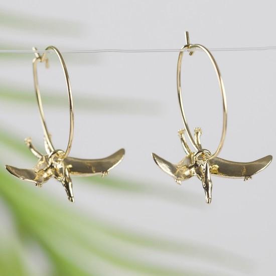 Gold Pterodactyl Dinosaur Hoop Earrings