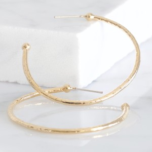 Large Gold Organic Shape Hoop Earrings