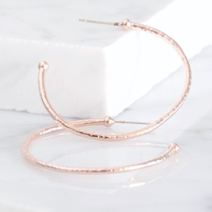 Large Rose Gold Organic Shape Hoop Earrings