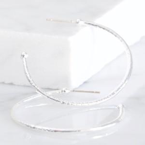 Large Silver Organic Shape Hoop Earrings