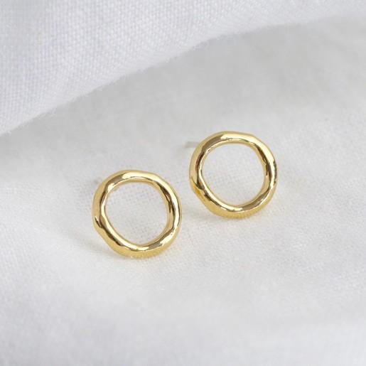 11417509481e5 Organic Shape Open Circle Earrings in Gold