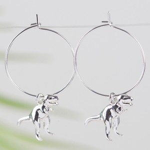 Silver T-Rex Dinosaur Hoop Earrings
