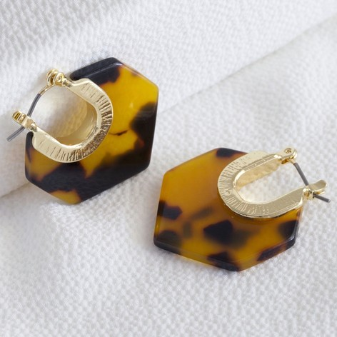 e8fe64a3bc Tortoiseshell Acrylic Hexagon Earrings in Gold