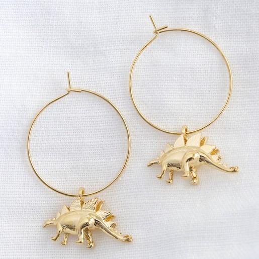 638449030 Lisa Angel Ladies' Gold Stegosaurus Dinosaur Charm Hoop Earrings