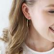 Large Organic Shape Hoop Earrings on Model