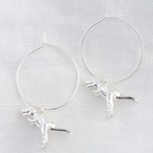 854f34d40 Silver T-Rex Dinosaur Hoop Earrings   Jewellery   Lisa Angel