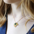 Lisa Angel Delicate Gold Monstera Leaf Tassel Necklace on Model