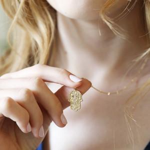 Gold Textured Hamsa Hand Necklace