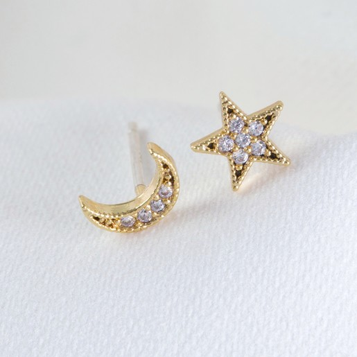 47dbf5267 Gold Moon and Star Crystal Stud Earrings | Jewellery | Lisa Angel