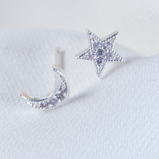 Silver Moon And Star Crystal Stud Earrings Jewellery Lisa Angel