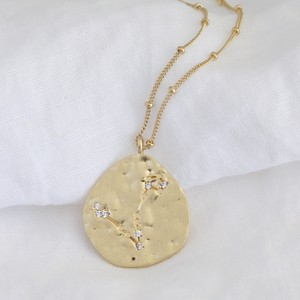 Matt gold plated brass constellation long necklace
