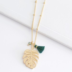 Gold Monstera Leaf Tassel Necklace