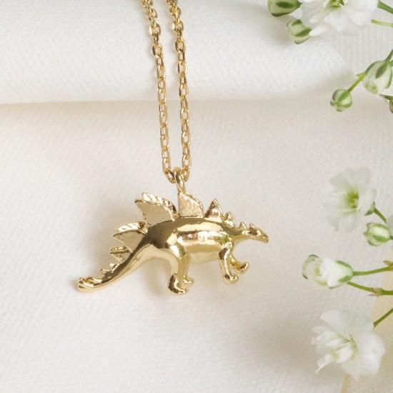 Gold Stegosaurus Dinosaur Necklace