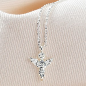 Guardian Angel Pendant Necklace in Silver