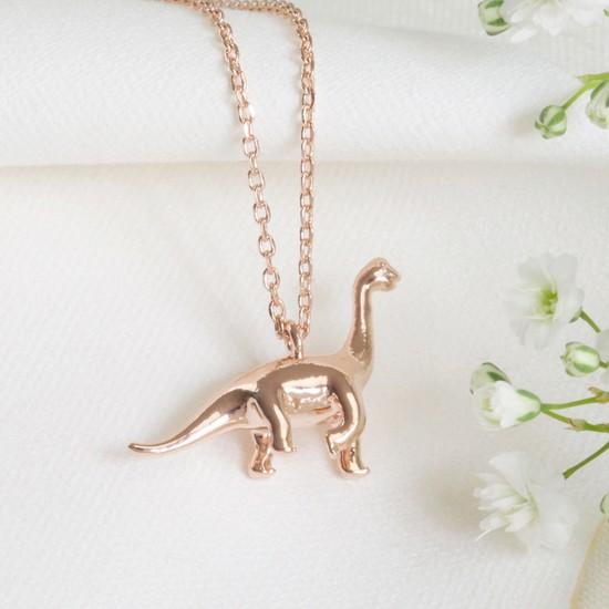 Rose Gold Diplodocus Dinosaur Necklace