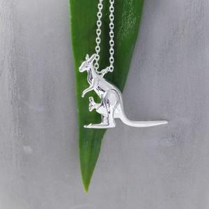 Silver Kangaroo Pendant Necklace
