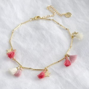 Pink Tassel and Star Anklet in Gold