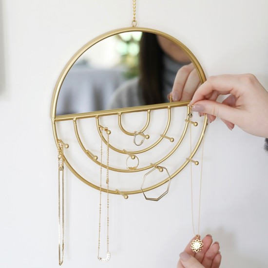 Circle Wall Mirror and Jewellery Hanger