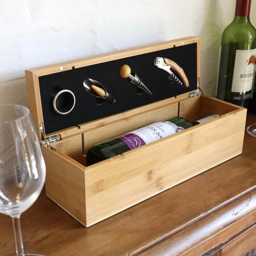 Wooden 4 Piece Wine Box Gift Set