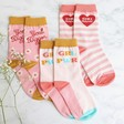 Lisa Angel Ladies' Pink and Yellow Feminist Socks