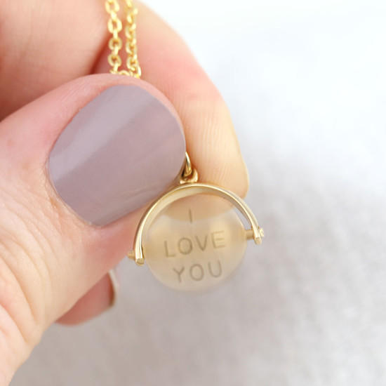 Gold Sterling Silver 'I Love You' Spinning Disc Necklace