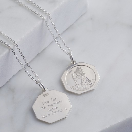 0abd9ec2f9436 Personalised Sterling Silver Hexagonal St Christopher Pendant Necklace