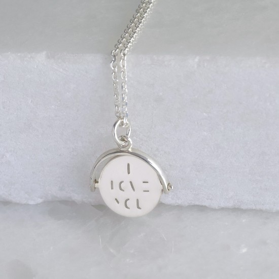 Sterling Silver 'I Love You' Spinning Disc Necklace