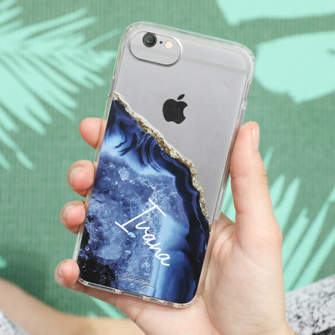 new style 1e4da aa10b Personalised Casery Blue Agate iPhone Case