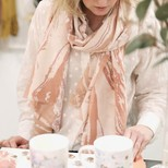 Soft Pink Marbled Effect Scarf