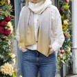 Lisa Angel Ladies' Light Soft Yellow and Cream Ombre Scarf