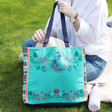 Lisa Angel Ladies' House of Disaster Fiesta Green Embroidered Peacock Tote Bag