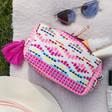 Lisa Angel House of Disaster Fiesta Pink Embroidered Jacquard Make Up Bag