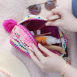 Inside of House of Disaster Fiesta Pink Embroidered Jacquard Make Up Bag