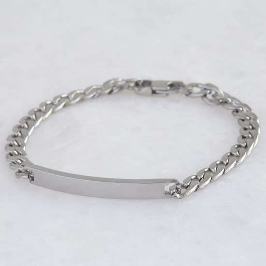 Men's Stainless Steel Chain and Plaque Bracelet