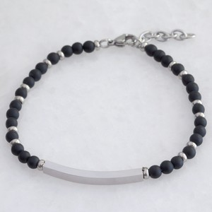 Men's Stainless Steel Curved Bar and Bead Bracelet