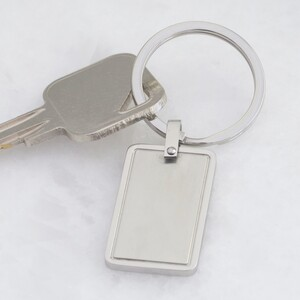 Stainless Steel Rectangular Plaque Keyring