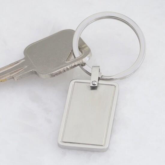 Stainless Steel Rectangular Plaque Keyring