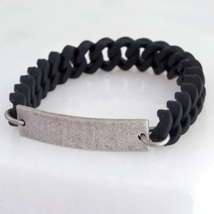 Men's Rubber Chain and Silver Plaque Bracelet
