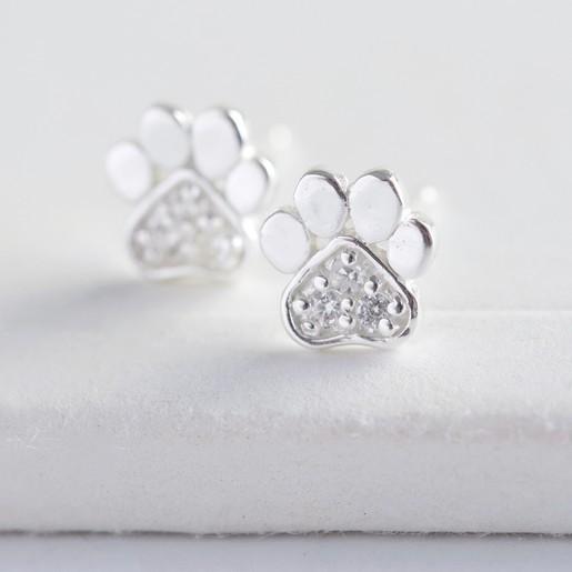 5dd166585d7 Hypoallergenic Crystal Paw Print Stud Earrings   Lisa Angel